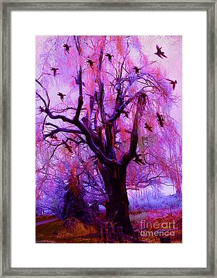 Surreal Fantasy Gothic Purple Pink Nature With Flying Ravens Framed Print