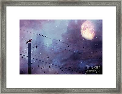 Surreal Fantasy Gothic Raven Moonlit Starry Night - Raven Birds On Powerline With Moon And Stars  Framed Print by Kathy Fornal