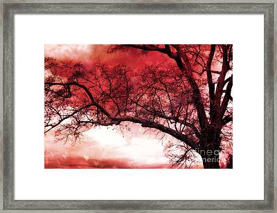 Surreal Fantasy Gothic Red Tree Landscape Framed Print by Kathy Fornal