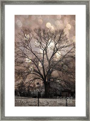 Surreal Fantasy Gothic South Carolina Sepia Oak Trees And Fantasy Bokeh Circles Framed Print