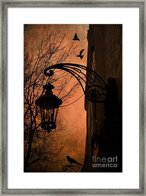 Surreal Fantasy Gothic Street Lantern With Crows And Ravens Framed Print