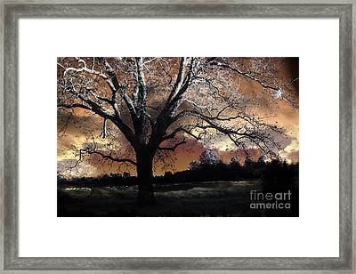 Surreal Fantasy Gothic Trees Nature Sunset Framed Print