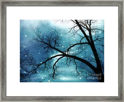Surreal Fantasy Haunting Gothic Tree With Birds Framed Print by Kathy Fornal