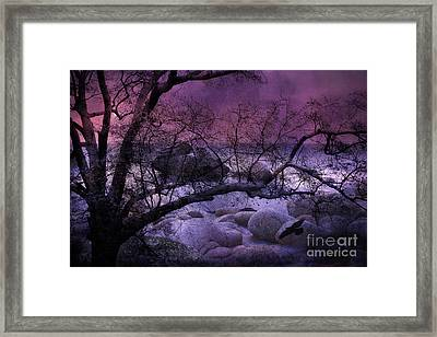 Surreal Fantasy Haunting Trees Nature - Purple Pink Nature Trees Rocks And Flying Raven Framed Print by Kathy Fornal