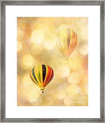 Surreal Fantasy Hot Air Balloon Dreamy Yellow Balloon Festival Art Framed Print by Kathy Fornal