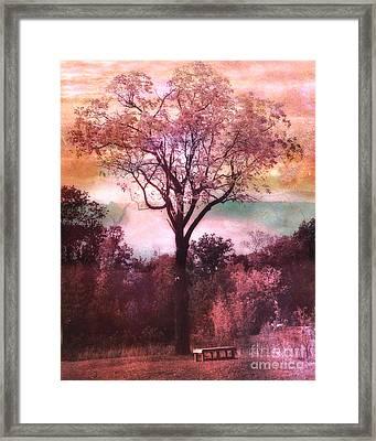 Surreal Fantasy Nature Tree Pink Landscape Framed Print
