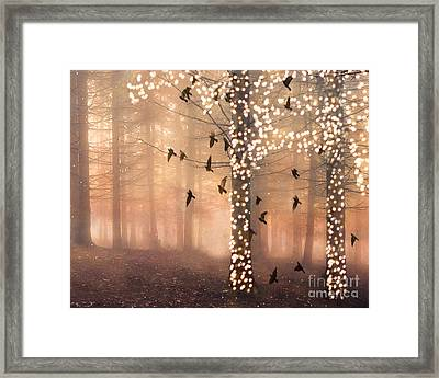 Surreal Fantasy Nature Trees Woodlands Forest Sparkling Lights Birds And Trees Nature Landscape Framed Print by Kathy Fornal