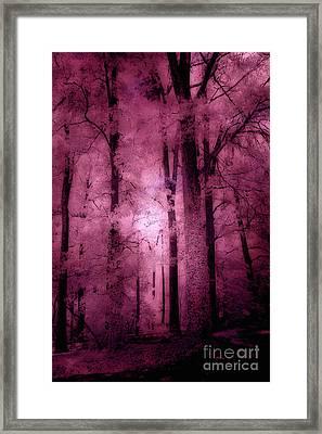 Surreal Fantasy Pink Forest Woodlands Framed Print