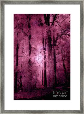 Surreal Fantasy Pink Forest Woodlands Framed Print by Kathy Fornal