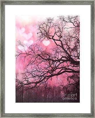 Surreal Fantasy Pink Hearts Trees And Nature - Dreamy Pink Hearts In Trees  Framed Print by Kathy Fornal