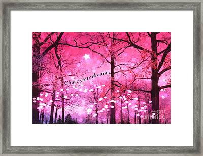 Surreal Fantasy Pink Nature With Inspirational Message - Hot Pink Sparkling Twinkling Lights Trees Framed Print by Kathy Fornal