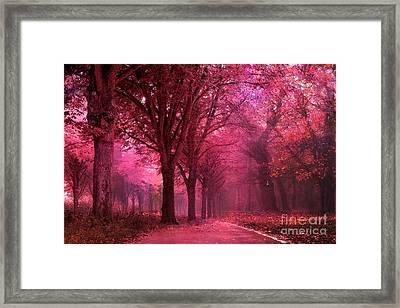 Surreal Fantasy Pink Red Autumn Fall Woodlands Nature Landscape Framed Print