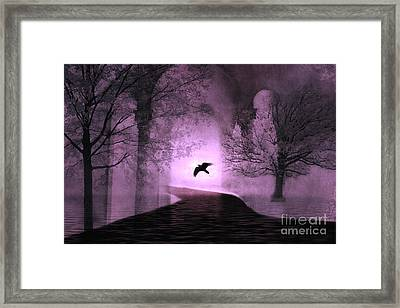 Surreal Fantasy Purple Nature Trees With Raven Flying Into Light Framed Print by Kathy Fornal