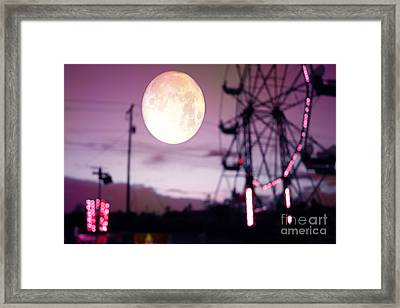 Surreal Fantasy Purple Night Ferris Wheel Full Moon  Framed Print by Kathy Fornal