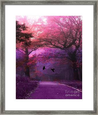 Surreal Fantasy Purple Pink Autumn Fall Nature Woodlands - Purple Woodlands With Flying Ravens Framed Print
