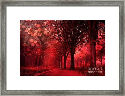 Surreal Fantasy Red Forest Woodlands Nature Framed Print by Kathy Fornal