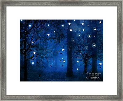 Surreal Fantasy Sparkling Blue Woodlands Forest Trees With Stars - Starlit Fantasy Nature Framed Print by Kathy Fornal