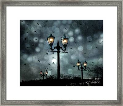 Surreal Fantasy Street Lamps Dreamy Flying Ravens Haunting Night Lights With Bokeh Framed Print by Kathy Fornal