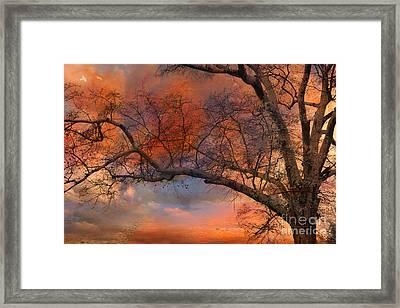 Surreal Fantasy Orange Sunset Trees Ethereal Landscape Framed Print by Kathy Fornal