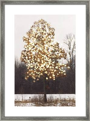 Surreal Fantasy Tree Nature Sparkling Lights Framed Print by Kathy Fornal