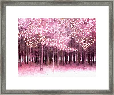 Surreal Fantasy Trees With Sparkling Lights - Pink Nature Trees Woodlands Framed Print