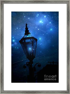Surreal Fantasy Twinkling Sparkling Night Lantern With Stars And Sparkling Moon Light Framed Print
