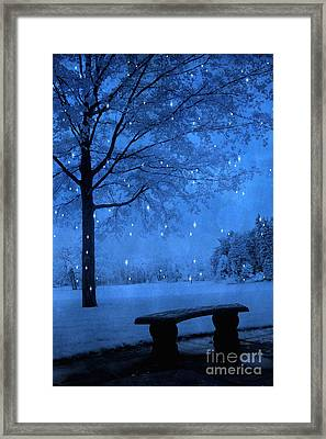 Surreal Fantasy Winter Blue Tree Snow Landscape Framed Print