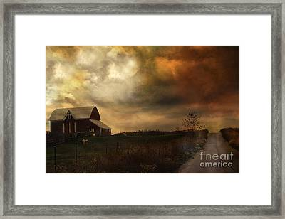 Surreal Fine Art Rural Barn Nature Country Road Landscape Framed Print by Kathy Fornal
