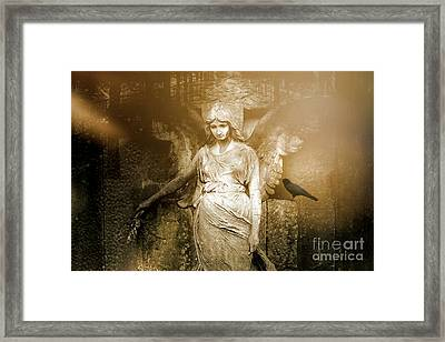 Surreal Gothic Angel Art Photography - Spiritual Ethereal Sepia Angel With Black Raven  Framed Print by Kathy Fornal