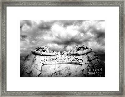 Surreal Gothic Black And White Cemetery Mourners On Casket  Framed Print by Kathy Fornal