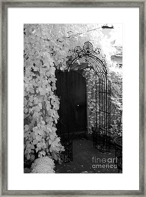 Surreal Gothic Black And White Infrared Doorway Framed Print by Kathy Fornal
