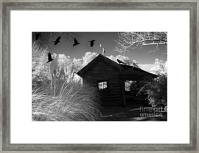 Surreal Gothic Black And White Infrared Nature Haunting Old House With Flying Ravens Framed Print by Kathy Fornal