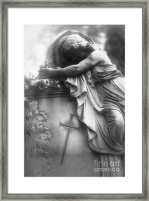 Surreal Gothic Cemetery Angel Mourner Draped Over Coffin With Cross- Haunting Cemetery Sculpture Art Framed Print by Kathy Fornal