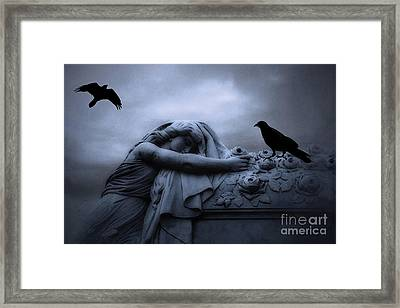 Surreal Gothic Cemetery Female Mourner Draped Over Coffin With Ravens - Surreal Blue Cemetery Art Framed Print by Kathy Fornal