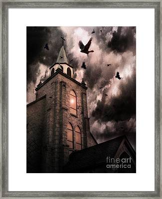 Surreal Gothic Church Storm Clouds Haunting Flying Ravens - Gothic Church Framed Print by Kathy Fornal
