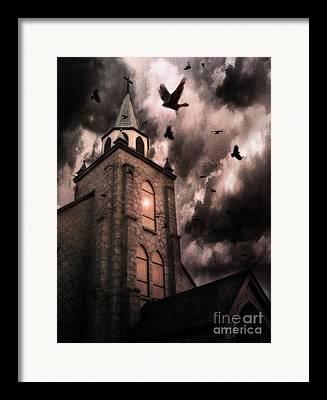 Surreal Fantasy Gothic Church Framed Prints