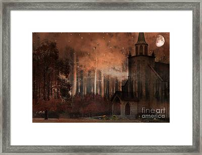 Surreal Gothic Church Autumn Fall Orange Brown With Full Moon And Stars Framed Print by Kathy Fornal