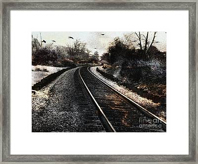 Surreal Gothic Dark Train Railroad Tracks With Flying Ravens Framed Print by Kathy Fornal