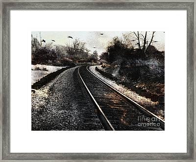 Surreal Gothic Dark Train Railroad Tracks With Flying Ravens Framed Print