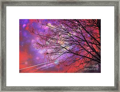 Surreal Gothic Fantasy Abstract Bokeh Tree Nature - Abstract Black Purple Orange Trees Framed Print by Kathy Fornal