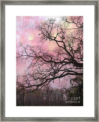 Surreal Gothic Fantasy Abstract Pink Nature - Fantasy Surreal Trees Nature Photograph Framed Print