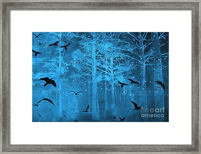 Surreal Gothic Fantasy Blue Starry Woodlands Forest With Flying Ravens Framed Print by Kathy Fornal