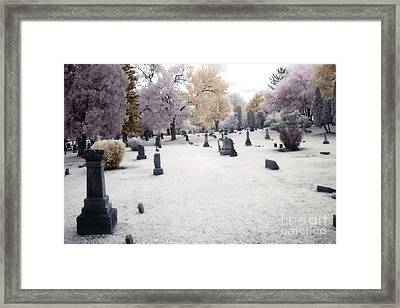 Surreal Gothic Fantasy Cemetery Graveyard Framed Print by Kathy Fornal