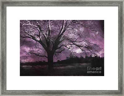 Surreal Gothic Fantasy Purple Tree Landscape - Haunting Purple Lavender Gothic Infrared Tree Framed Print