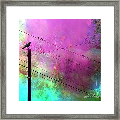 Surreal Gothic Fantasy Raven Crows On Powerlines Framed Print by Kathy Fornal