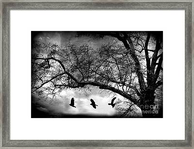 Surreal Gothic Fantasy Tree Nature Landscape - Haunting Surreal Trees With Flying Ravens  Framed Print by Kathy Fornal