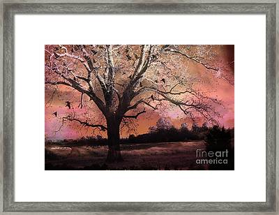 Surreal Gothic Fantasy Trees Pink Sky Ravens Framed Print by Kathy Fornal
