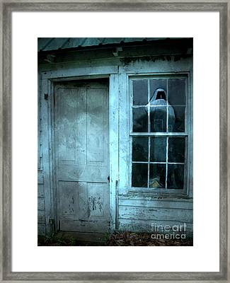 Surreal Gothic Grim Reaper In Window - Spooky Haunted House Reflection In Window Framed Print