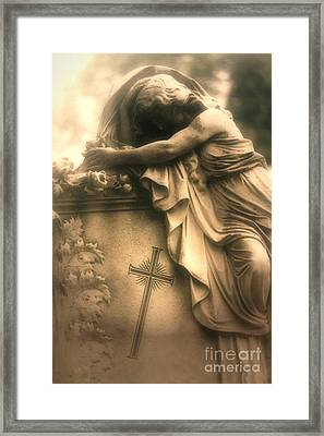 Surreal Gothic Haunting Cemetery Mourner On Grave With Cross And Roses Coffin Framed Print by Kathy Fornal