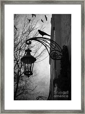 Surreal Gothic Haunting Street Lamps Lanterns With Ravens And Crows Framed Print by Kathy Fornal